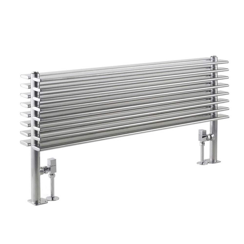 Hudson Reed Fin Horizontal Double Panel Radiator - High Gloss Silver - HLS81 profile large image view 1