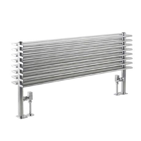 Hudson Reed Fin Horizontal Double Panel Radiator - High Gloss Silver - HLS81
