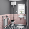 Carlton Traditional Cloakroom Suite - High level Toilet + Wall Hung Basin profile small image view 1