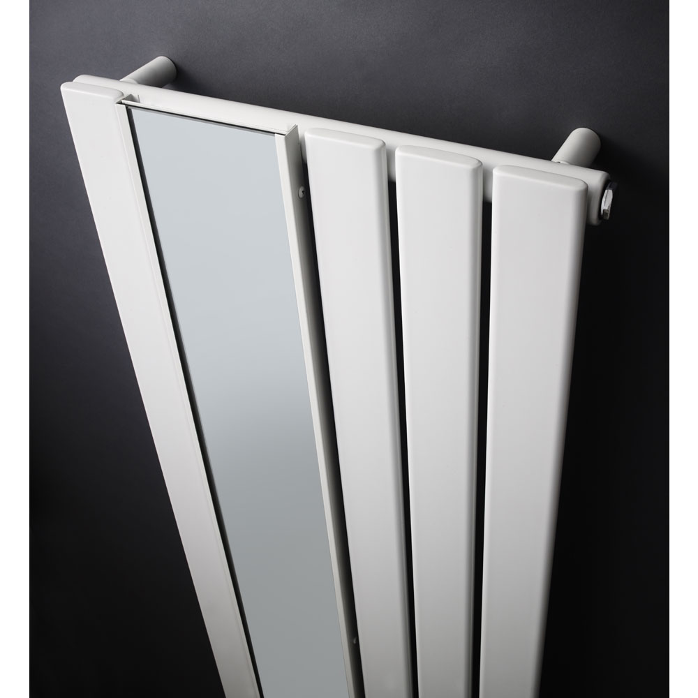 Premier seville flat panel radiator with mirror white for Mirror radiator
