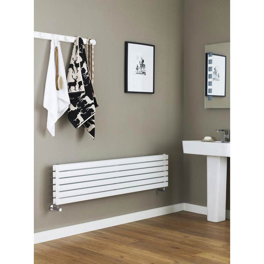 Hudson Reed Sloane Double Panel Designer Radiator 1800 x 354mm - White - HLW44 Profile Large Image