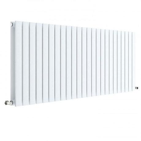 Hudson Reed Sloane 600 x 1398mm Horizontal Double Panel Radiator - Satin White - HLW59D