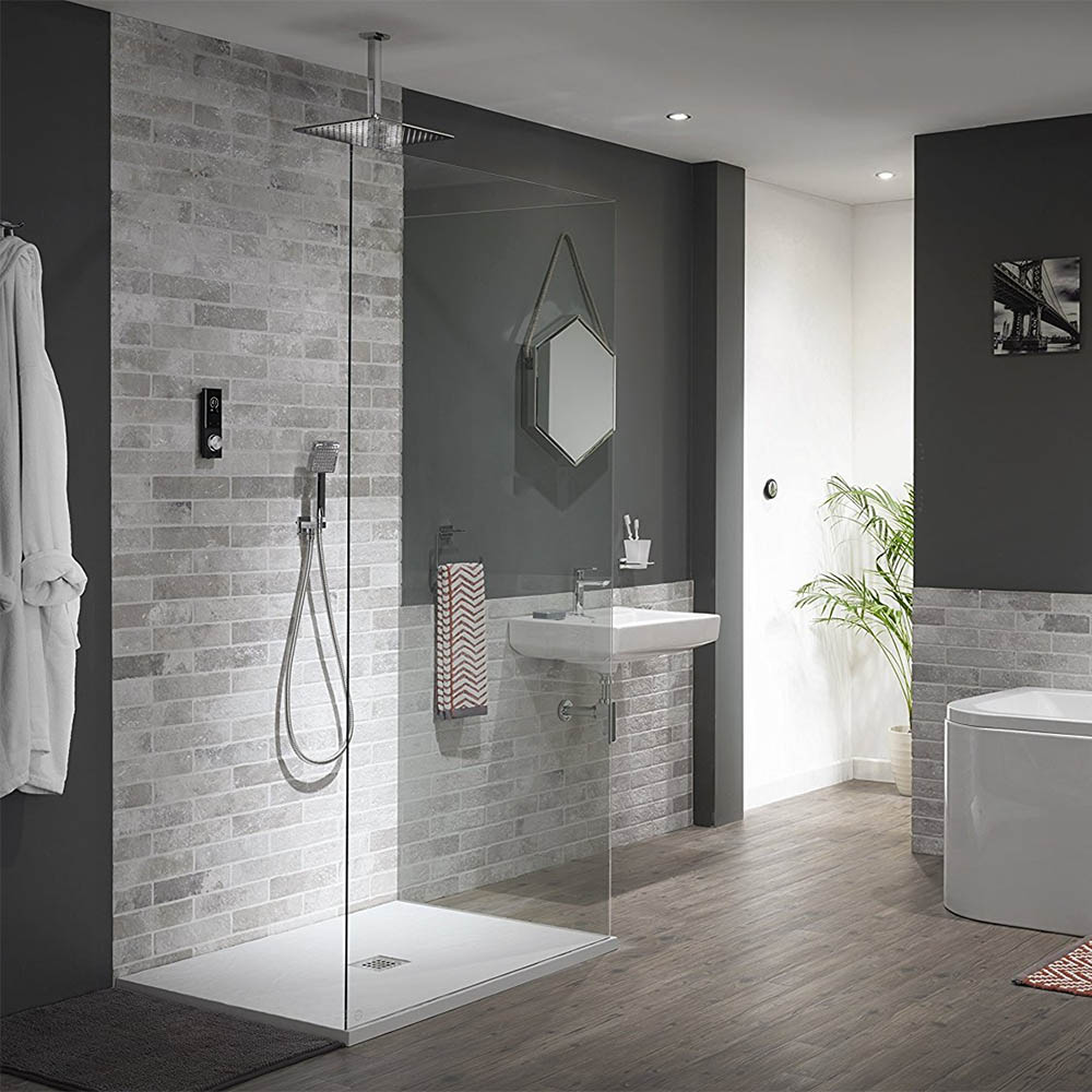Triton HOME Digital Mixer Shower All-in-One with Square Fixed Head & Outlet Elbow Handset Holder  - A chrome digital shower idea with silent technology. | 14 Fresh Shower Ideas