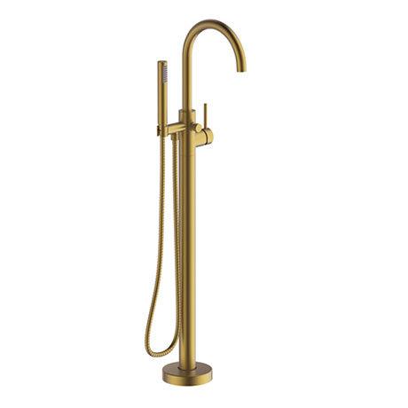 Britton Hoxton Floor Standing Bath Shower Mixer - Brushed Brass