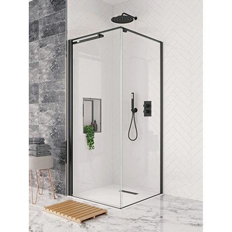 Crosswater Design+ Matt Black Pivot Door Shower Enclosure with Hush Technology