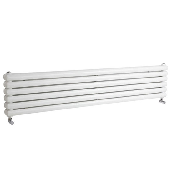 Peony Horizontal Modern Radiator - 383 x 1800mm White Large Image