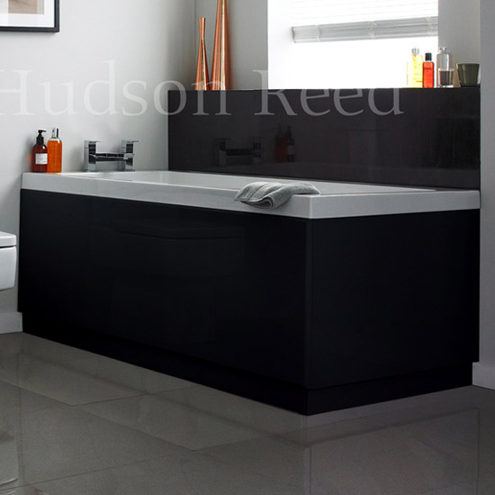 Hudson Reed High Gloss Black Front Bath Panel Large Image
