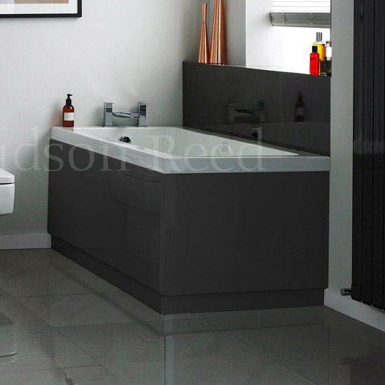 Hudson Reed High Gloss Grey End Bath Panel profile large image view 1