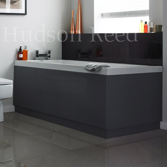 Hudson Reed High Gloss Grey Front Bath Panel profile large image view 1