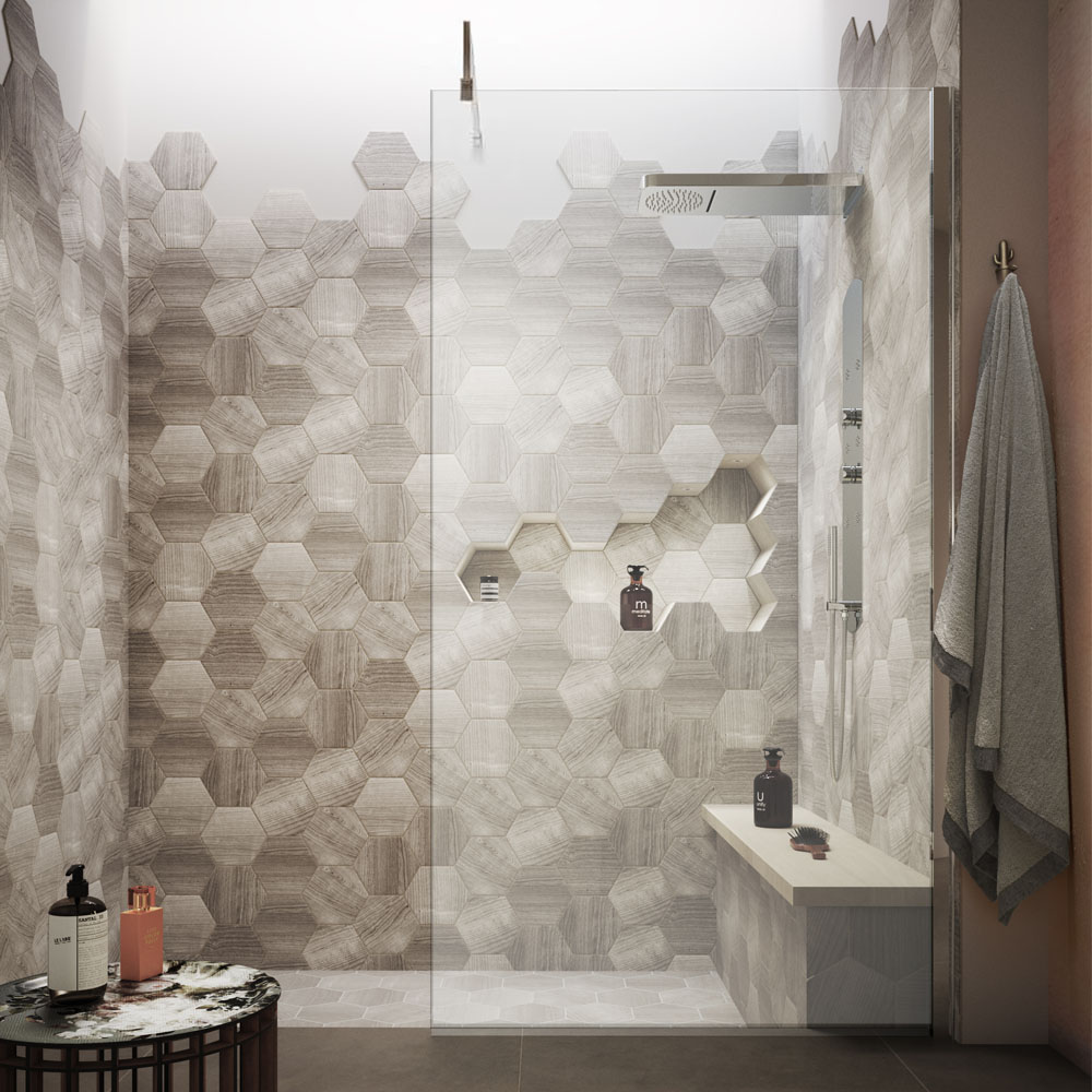 Hudson Reed 1950mm Wet Room Screen  - A gorgeous wet room shower screen with hexagon tiles. | 14 Fresh Shower Ideas