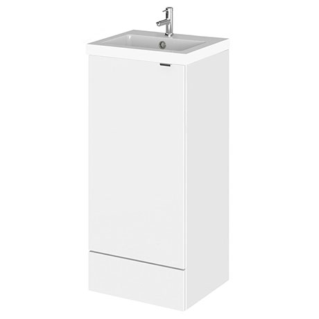 Hudson Reed Fusion 400mm Gloss White Full Depth Unit + Basin