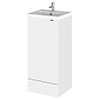 Hudson Reed Fusion 400mm Gloss White Full Depth Unit + Basin profile small image view 1