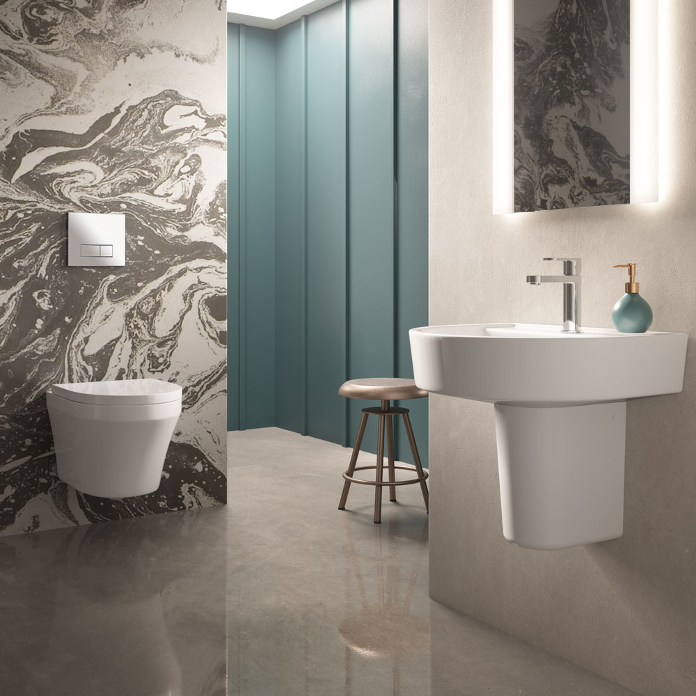 Hudson Reed Luna 1TH Wall Hung Suite (Toilet, Concealed Cistern + Basin)