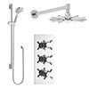 Hudson Reed - Kristal Triple Shower Valve with Cloudburst Fixed Head & Slider Rail Kit profile small image view 1