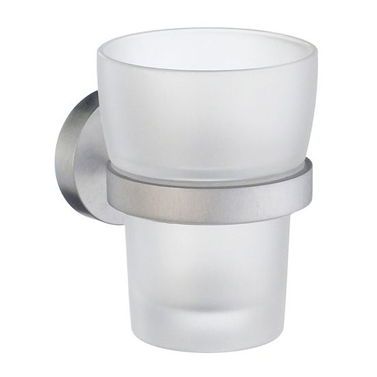 Smedbo Home Holder with Frosted Glass Tumbler - Brushed Chrome - HS343 Large Image