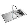 Rangemaster Houston 1.0 Bowl Stainless Steel Kitchen Sink profile small image view 1