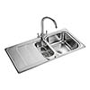 Rangemaster Houston 1.5 Bowl Stainless Steel Kitchen Sink profile small image view 1
