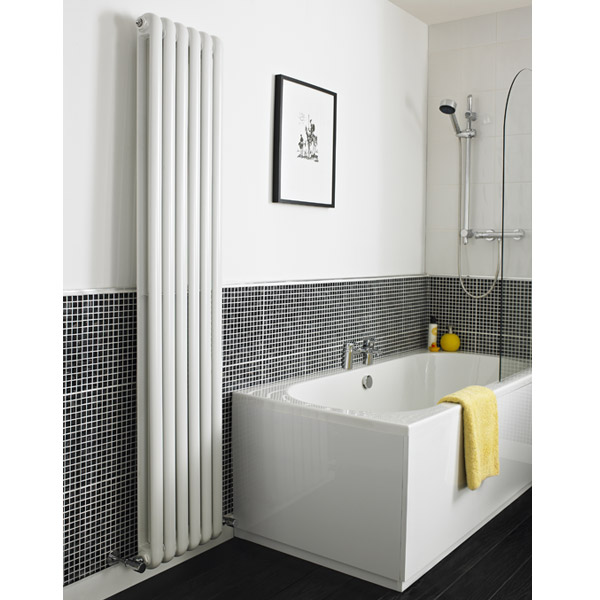Premier - Salvia Double Panel Radiator - 1500 x 383mm - White - HSA002 profile large image view 3