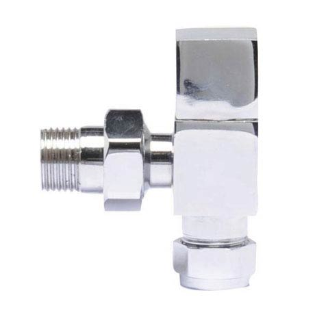 Hudson Reed Pure Square Chrome Radiator Valves - Angled - HT324