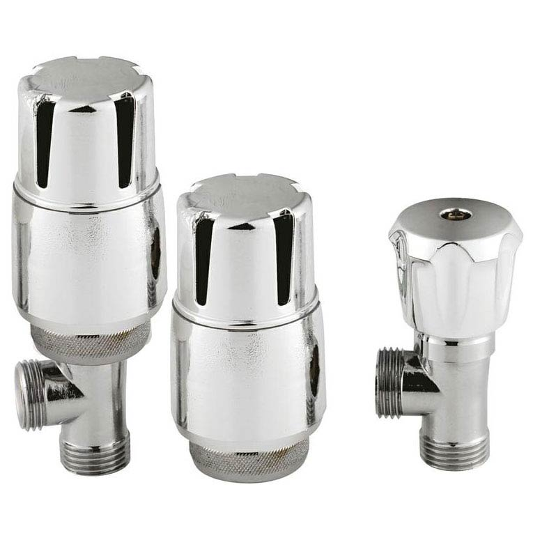 Hudson Reed Chrome Thermostatic Radiator Valves - Angled - HT326 Large Image