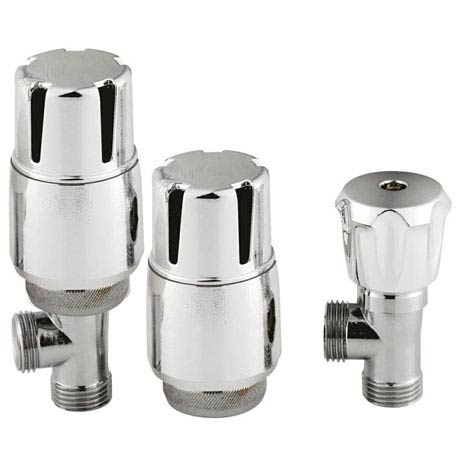 Hudson Reed Chrome Thermostatic Radiator Valves - Angled - HT326