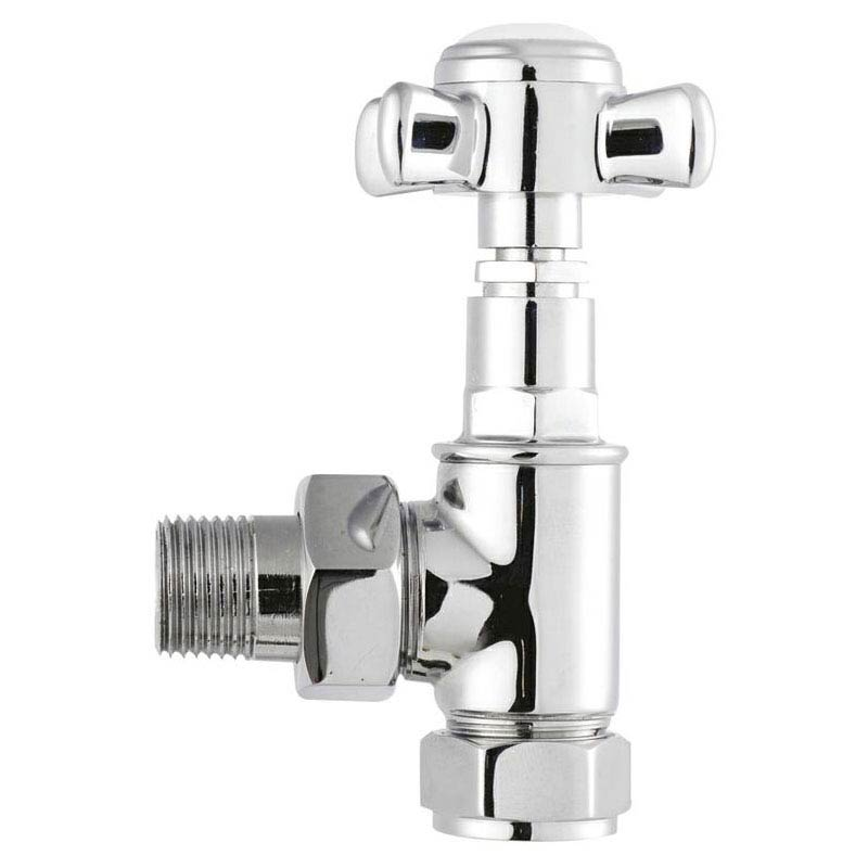 Hudson Reed Victorian Chrome Crosshead Radiator Valves - Angled - HT336 Large Image
