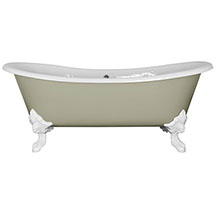JIG Belvoir 0TH Cast Iron Roll Top Bath (1840x780mm) with White Feet