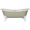 JIG Belvoir 0TH Cast Iron Roll Top Bath (1840x780mm) with White Feet profile small image view 1