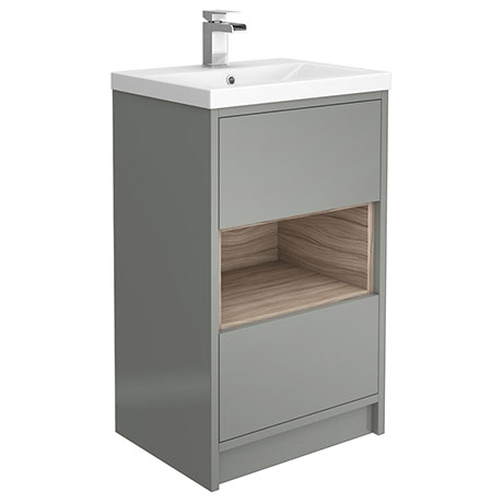 Haywood 500mm Gloss Grey / Driftwood 2 Drawer Vanity Unit with Open Shelf + Ceramic Basin