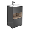 Haywood 500mm Gloss Grey / Driftwood 2 Drawer Vanity Unit with Open Shelf + Ceramic Basin profile small image view 1