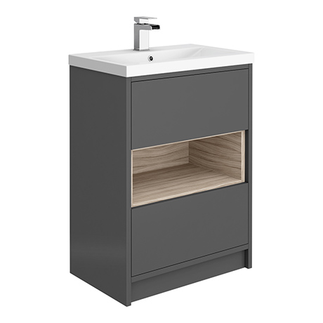 Haywood 600mm Gloss Grey / Driftwood 2 Drawer Vanity Unit with Open Shelf + Ceramic Basin