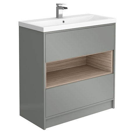 Haywood 800mm Gloss Grey / Driftwood 2 Drawer Vanity Unit with Open Shelf + Ceramic Basin