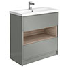 Haywood 800mm Gloss Grey / Driftwood 2 Drawer Vanity Unit with Open Shelf + Ceramic Basin profile small image view 1