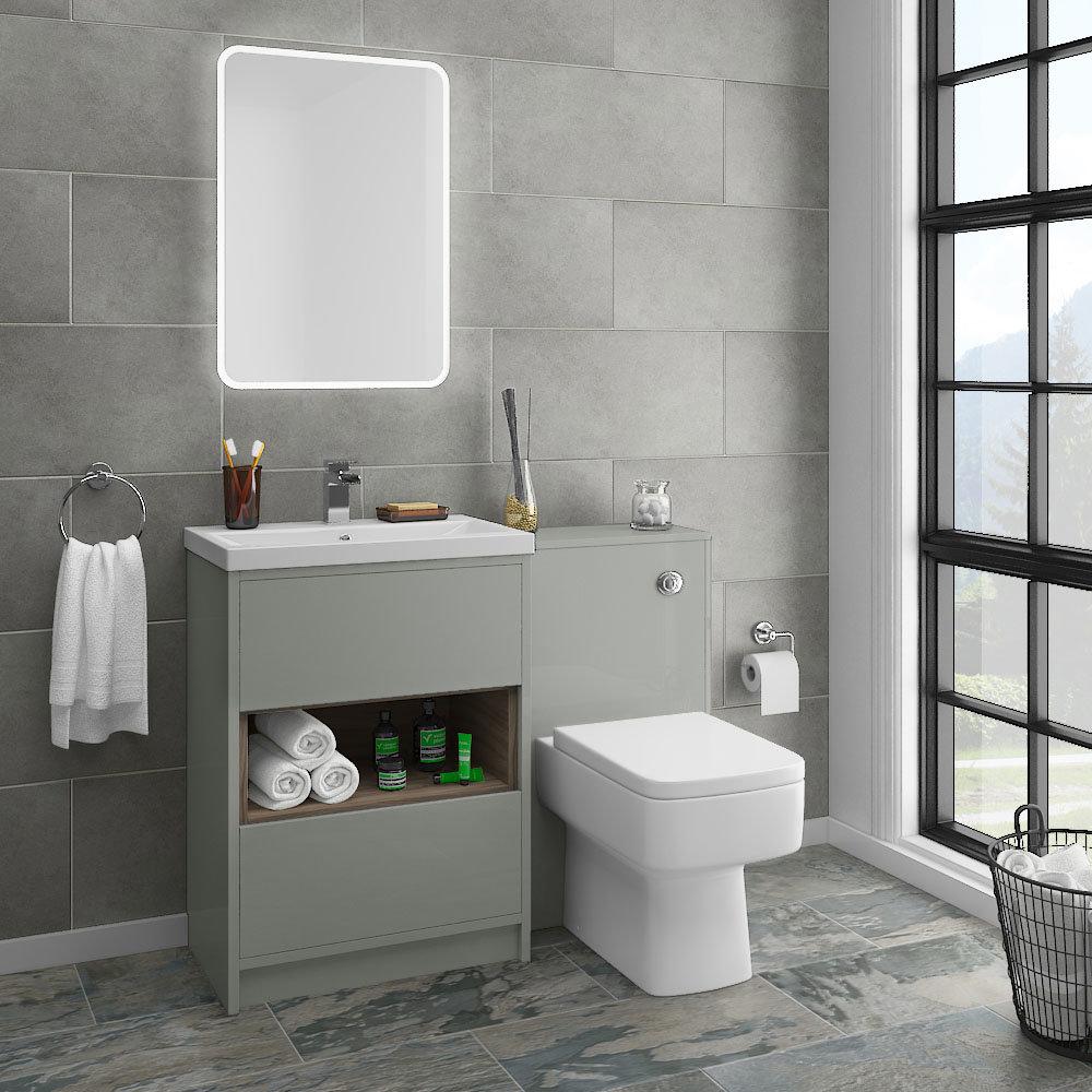 Haywood Grey Modern Sink Vanity Unit Toilet Package