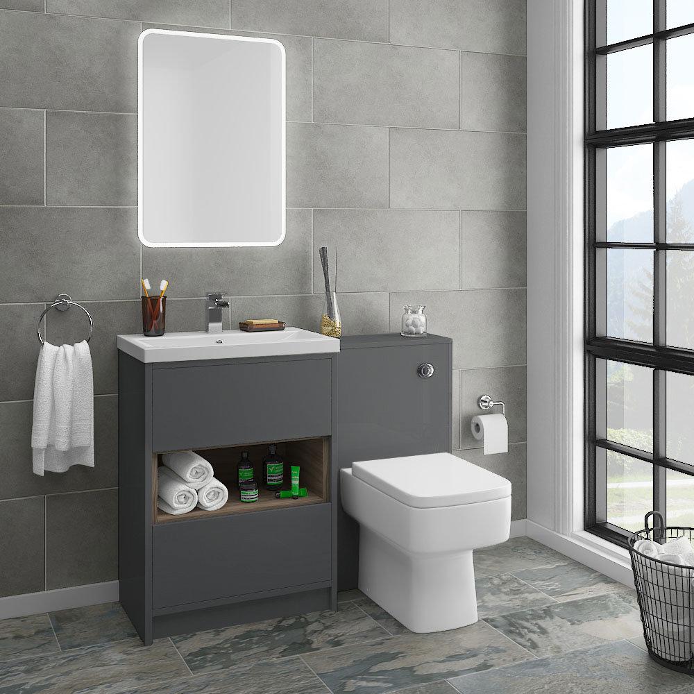 Haywood Grey Modern Sink Vanity Unit + Toilet Package