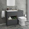Haywood Grey Modern Sink Vanity Unit + Toilet Package profile small image view 1