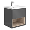 Haywood 500mm Gloss Grey / Driftwood Wall Hung Vanity Unit with Open Shelf + Ceramic Basin profile small image view 1