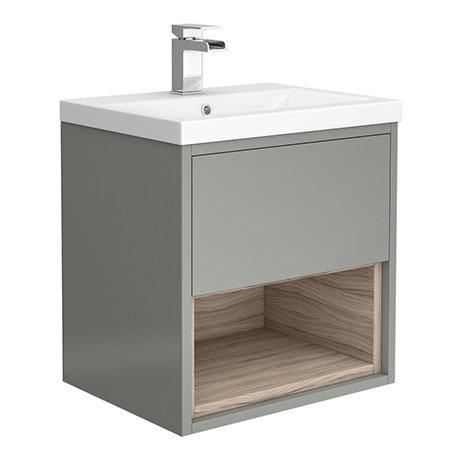 Haywood 500mm Gloss Grey / Driftwood Wall Hung Vanity Unit with Open Shelf + Ceramic Basin