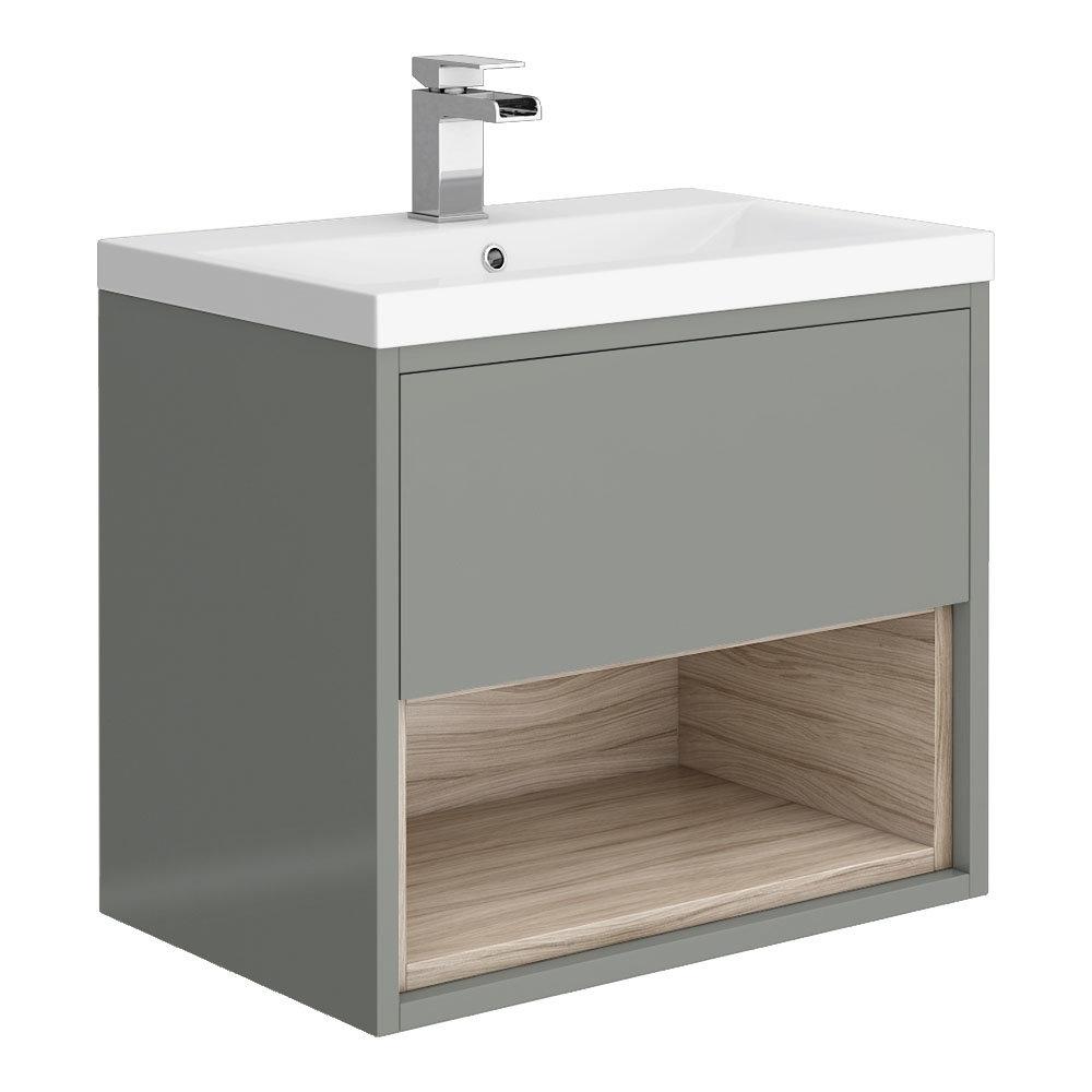 Haywood 600mm Gloss Grey / Driftwood Wall Hung Vanity Unit with Open Shelf + Ceramic Basin