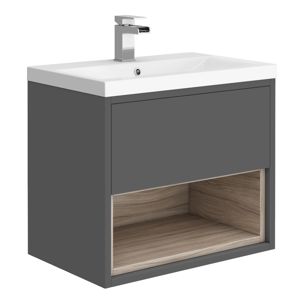 Haywood 600mm Gloss Grey / Driftwood Wall Hung Vanity Unit with Open Shelf + Ceramic Basin