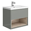 Haywood 600mm Gloss Grey / Driftwood Wall Hung Vanity Unit with Open Shelf + Ceramic Basin profile small image view 1