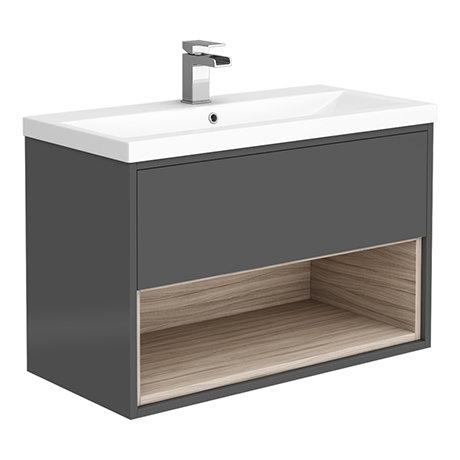 Haywood 800mm Gloss Grey / Driftwood Wall Hung Vanity Unit with Open Shelf + Ceramic Basin