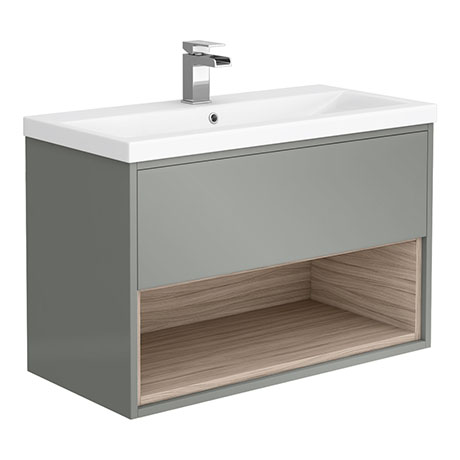 Haywood 800mm Gloss Grey / Driftwood Wall Hung Vanity Unit with Open Shelf + Ceramic Basin