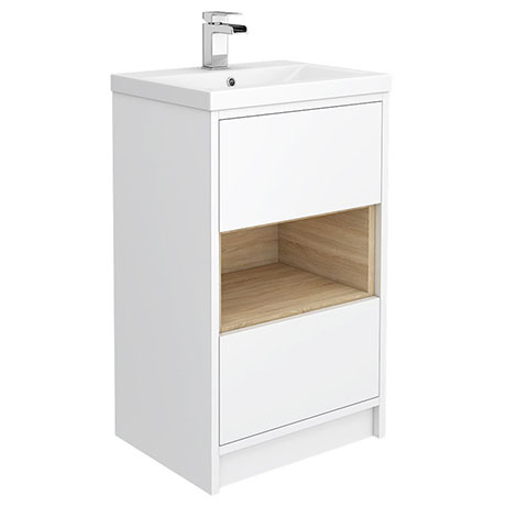 Haywood 500mm Gloss White / Natural Oak 2 Drawer Vanity Unit with Open Shelf + Ceramic Basin