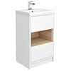 Haywood 500mm Gloss White / Natural Oak 2 Drawer Vanity Unit with Open Shelf + Ceramic Basin Small I