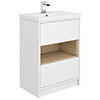 Haywood 600mm Gloss White / Natural Oak 2 Drawer Vanity Unit with Open Shelf + Ceramic Basin Small I