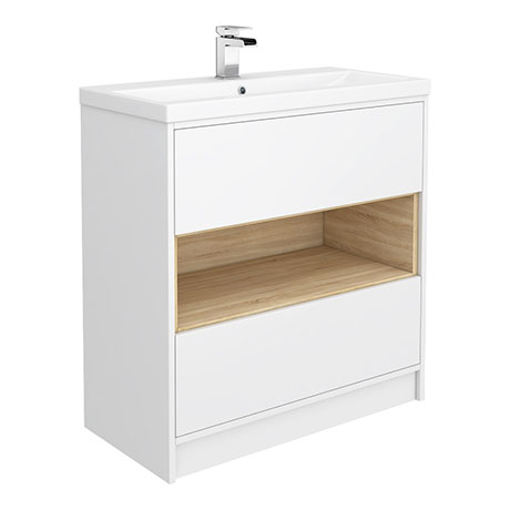 Haywood 800mm Gloss White / Natural Oak 2 Drawer Vanity Unit with Open Shelf + Ceramic Basin