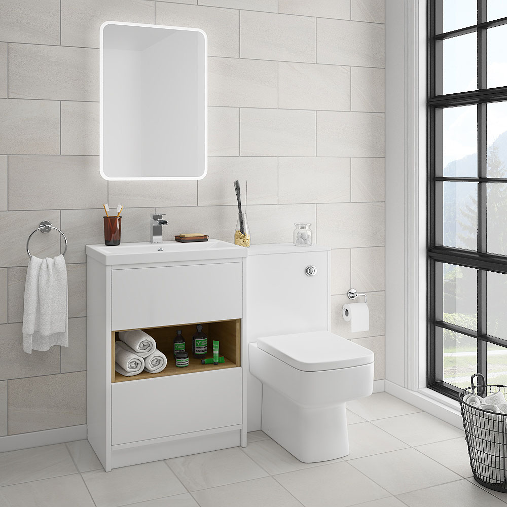 Haywood White Modern Sink Vanity Unit + Toilet Package