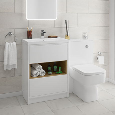 Haywood White Modern Sink Vanity Unit + Toilet Package