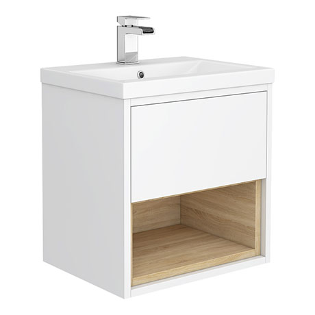 Haywood 500mm Gloss White / Natural Oak Wall Hung Vanity Unit with Open Shelf + Ceramic Basin